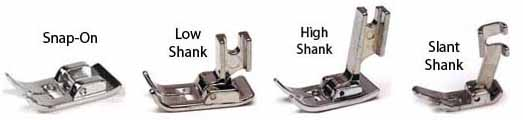 Low Shank, High Shank, Slant Shank, Snap-On Presser Feet